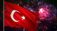 Stock Video Footage of Flag of Turkey and fireworks