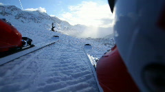 Skiing camera mounted on skis Stock Footage