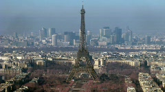 View on city with Tour Eiffel on the center. Paris, France. Time lapse. Stock Footage