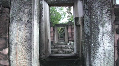 Mysterious Ancient doorway entrance to ruins Prasat Muang Tam ruins Thailand. Stock Footage