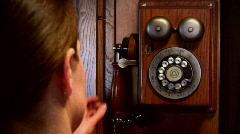 Dialing Vintage Rotary Phone Stock Footage