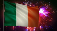 Stock Video Footage of Flag of Ireland and fireworks