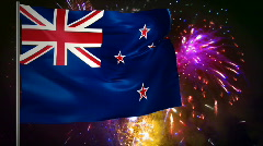 Flag of New Zealand and fireworks  Stock Footage