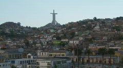 Cross above city of Coquimbo, #1 Stock Footage