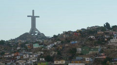 Cross above city of Coquimbo, #2  Stock Footage