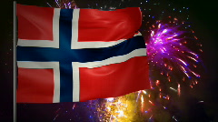 Flag of Norway and fireworks  Stock Footage