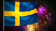 Stock Video Footage of Flag of Sweden and fireworks