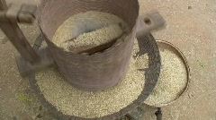 Hulling Rice in Thai Village Stock Footage