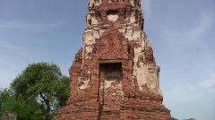 Ancient Ruins of Buddhist Temple Buddha Statue Buddhism at Ayuthaya, Thailand Stock Footage