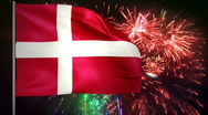 Stock Video Footage of Flag of Denmark and fireworks