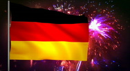 Stock Video Footage of Flag of Germany and fireworks