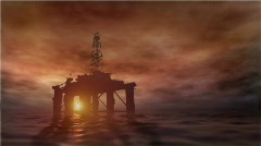 oil rig at sunset - stock footage
