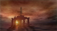 Stock Video Footage of oil rig at sunset