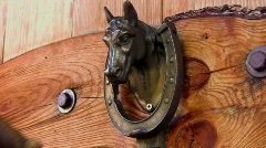 Horse Head Western Door Knocker Stock Footage