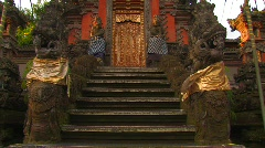 Ancient Stairway to Royal Palace Doorway Hindu Temple Gate Ubud Bali Stock Footage