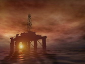Stock Video Footage of oil rig at sunset (PAL)