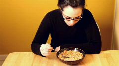 Eating Bowl of Cereal for Breakfast Stock Footage