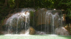 Beautiful Erawan Waterfall Flowing Water Peaceful Serene Kanchanaburi Thailand Stock Footage