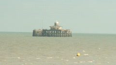 Collapsed Pier Herne Bay Kent Stock Footage