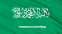 Saudi Arabia flag, with real structure of a fabric - stock footage