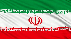 Iran flag, with real structure of a fabric Stock Footage
