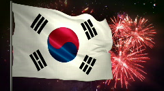 Flag of South Korea and fireworks  - stock footage