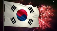 Stock Video Footage of Flag of South Korea and fireworks