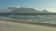 Cape town view with kite surf Stock Footage