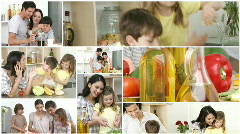 Family working in the Kitchen Stock Footage