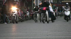 Hanoi Traffic People Ride  Motorcycles Scooter Busy Street Scene Cars Socialist  Stock Footage