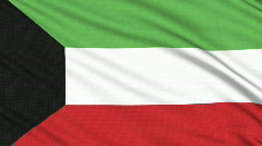 Kuwait flag, with real structure of a fabric - stock footage