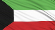 Kuwait flag, with real structure of a fabric Stock Footage