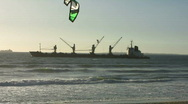 Kite surf and ship view Stock Footage