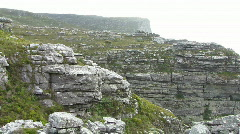 Table mountain rocks pan - stock footage