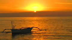 Bali Sunset Boat Lovina Beach Indonesia Tropical Paradise Island Catamaran  Stock Footage