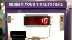 Ticket Redemption Machine at Arcade Stock Footage