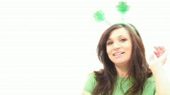 Sexy Brunette Kiss me I'm Irish - St. Patricks Day - 3 Stock Footage
