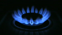 Stock Video Footage of Gas Burner On Stove