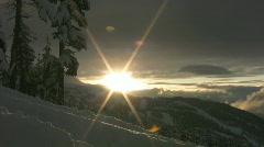 Ski-hill sunset. Stock Footage
