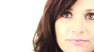 Sexy Brunette Commercial right half - smiling eyes - 2 - stare and nod Stock Footage