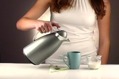 Woman Pouring Coffee, Studio Setup (1a) Stock Footage