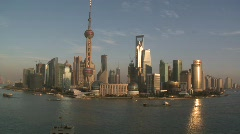 Pan from Lujiazui down Huangpu River - stock footage