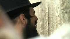 Western Wall - A religious man prays Stock Footage