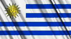 Uruguay Flag Loop 01 Stock Footage