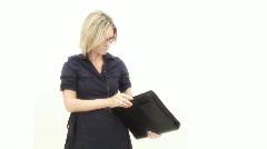 Business woman presenting - 4 - opening binder - preparation Stock Footage