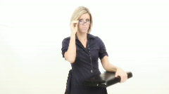 Business woman presenting - 2 - zoom in on sexy look Stock Footage