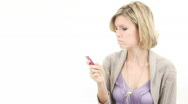 Female Face girl with mp3 player or cell - 2 - pan around Stock Footage