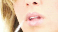 Female Face Beautiful soft lips -2 - talk and apply lip gloss Stock Footage