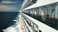 Passengers on balconies of ship P HD 4454 Stock Footage