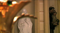 Close up on the Virgin Mary Sculpture Stock Footage
